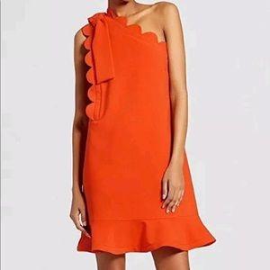 Victoria Beckham Scallop Trim Orange Dress NWT